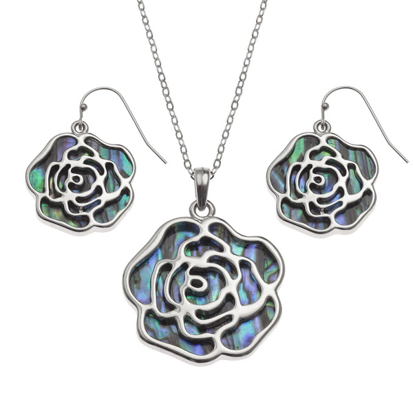 "Tide Jewellery inlaid Paua shell rose pendant with Paua shell on the reverse, on 18"" trace chain and matching hook earring set"