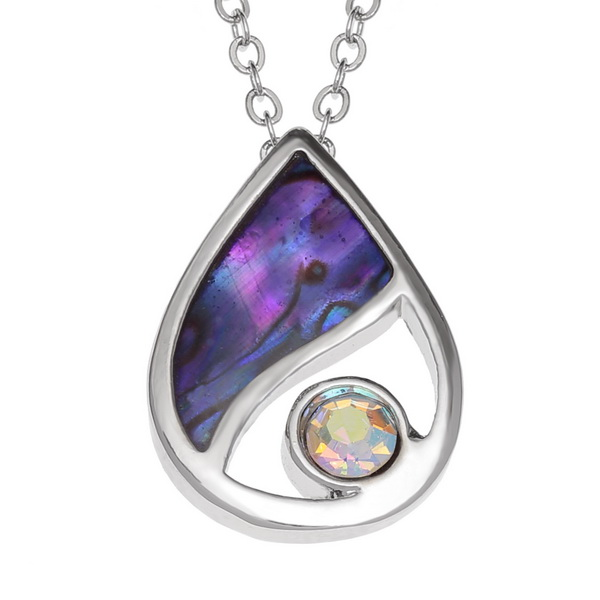 Tide Jewellery inlaid purple Paua shell Teardrop pendant