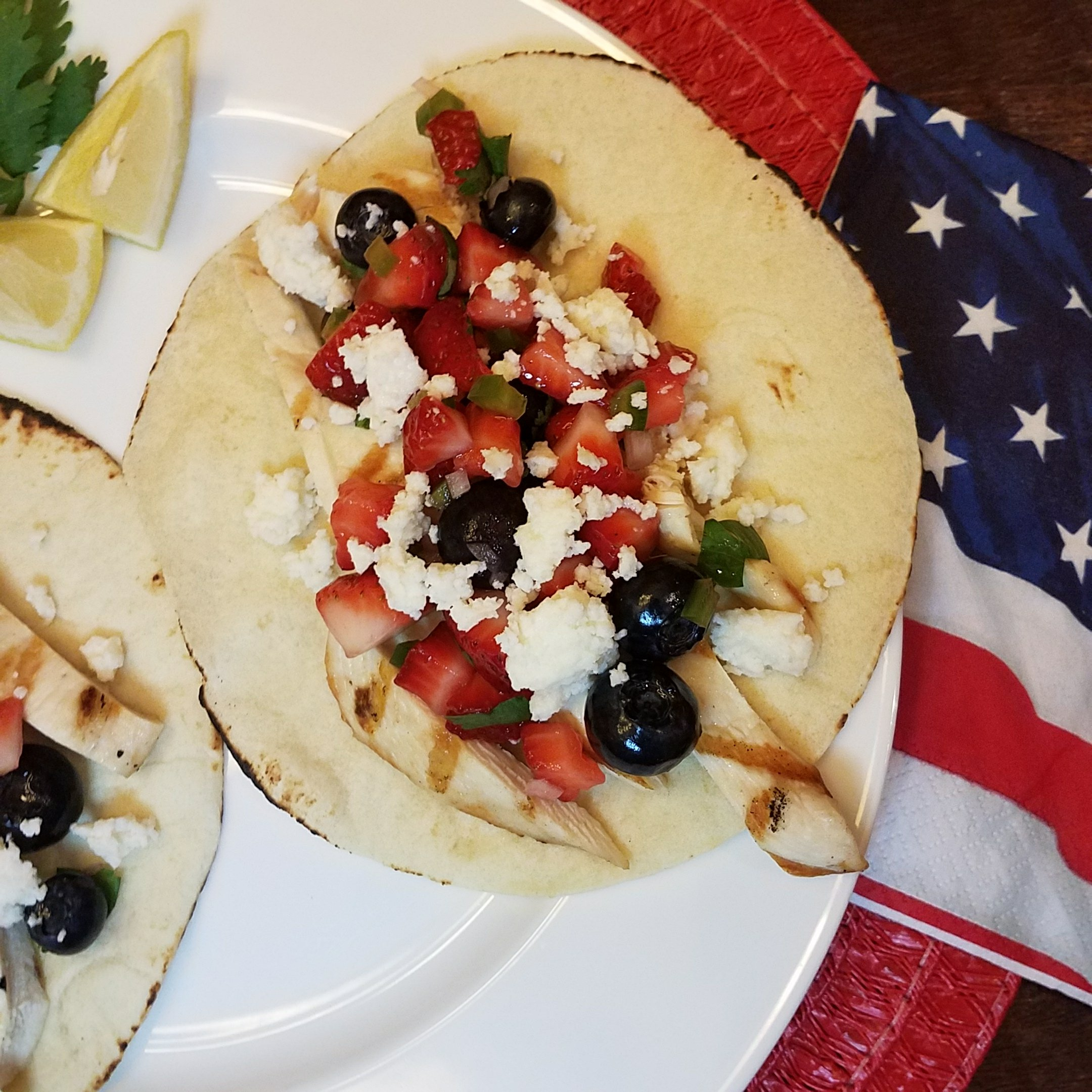 VERY BERRY PATRIOTIC GRILLED CHICKEN TACOS