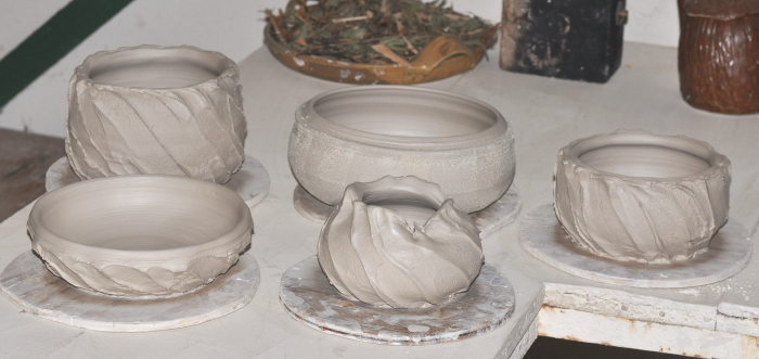 Wheelthrown spring faceted and kaolin