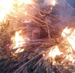 Tin Saggars in the Bonfire