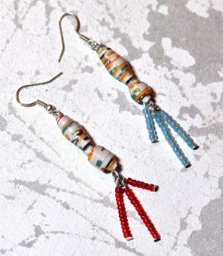 Paper Bead Earrings with Seed Beads