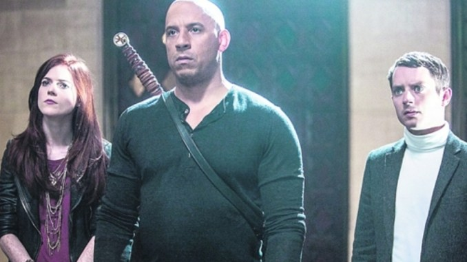 "Chloe (Rose Leslie), Kaulder (Vin Diesel) und Dolan (Elijah Wood) (v.l.) in ""The last witch hunter"". Foto: Concorde Filmverleih GmbH"