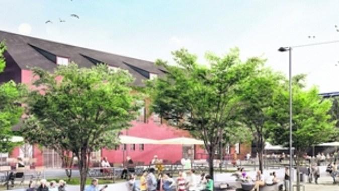 Der beliebte Treff vor der Scheune im Szeneviertel wird derzeit umgebaut zu einem öffentlichen Platz. Foto: 3D Visualisierung: www.archlab.de, Entwurfsverfasser: r+b landschaft s architektur