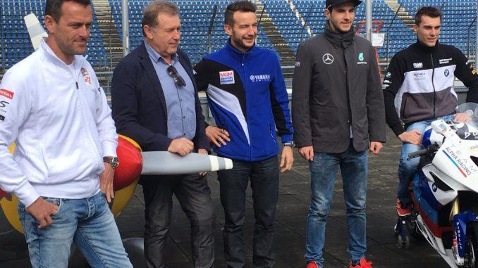 Matthias Doldorer (Pilot Red Bull Air Race), Josef Meier (Geschäftsführer Lausitzring), Max Neukirchner (IDM), Christian Vietons (DTM) und Markus Reitenberger (Superbike*IDM) gaben sich bei der Pressekonferenz zum Saisonauftakt am Eurospeedway Lausitzring die Ehre. Foto: PR