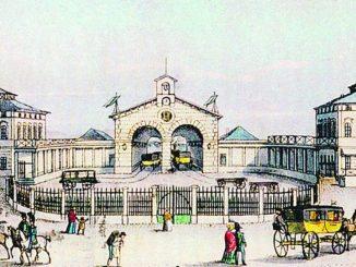 Historische Ansicht des ersten deutschen Fernbahnhofs in Dresden Reproduktion: SZ-Archiv