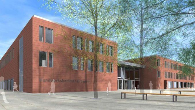 Entwurf für das neue Bildungszentrum der Handwerks in der Albertstadt Visualisierung: arge_cbh_architekten.ingenieure