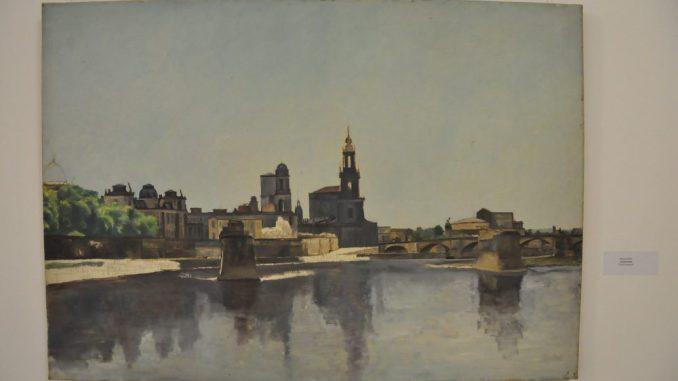 """Das Gemälde """"Carolabrücke"""" von Richard Miller ist bis Februar 2018 im Dresdner Rathaus ausgestellt. Foto: Una Giesecke"""