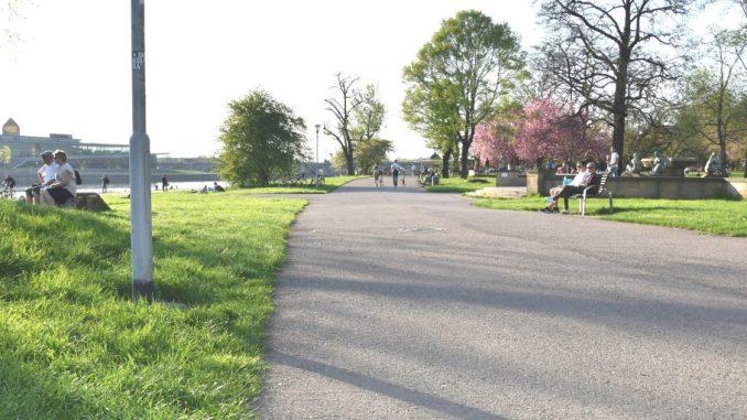 Auch der Elberadweg dient zum Radfahren, auf der Parkbank Sitzen, Spazieren Gehen und ausruhen. Dresden im Frühling. (Foto: DAWO! /jz)