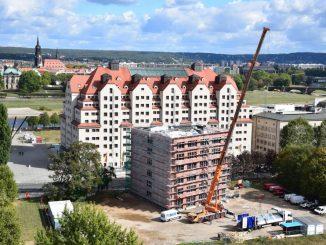 Am 28.9.2018 feiert die neu entstehende SPD-Zentrale in Dresden Richtfest. Foto: Una Giesecke