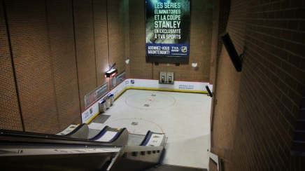 The Lucien-L'Allier metro station wass transformed into a fake skating rink to promote a new season of hockey on television.