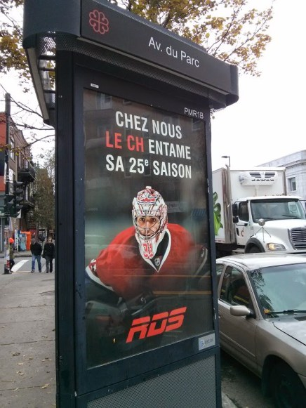 An ad by RDS promoting a new season of Canadiens' games on the channel.