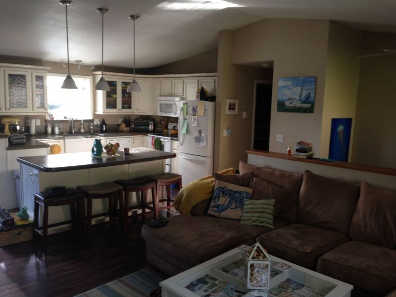 Large  comfortable home in Alaska s beautiful arts capital  Sitka     Living room looking into the kitchen