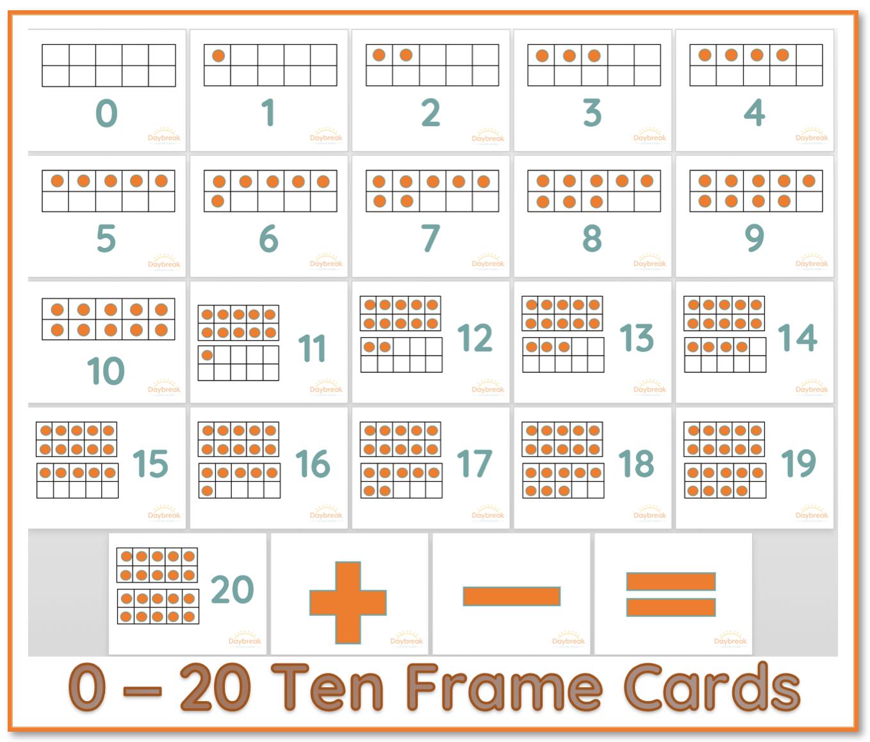 Printable Resource 0 20 Ten Frame Cards