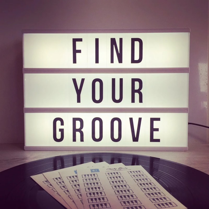 Find Your Groove vinyl record and cassette tape stickers