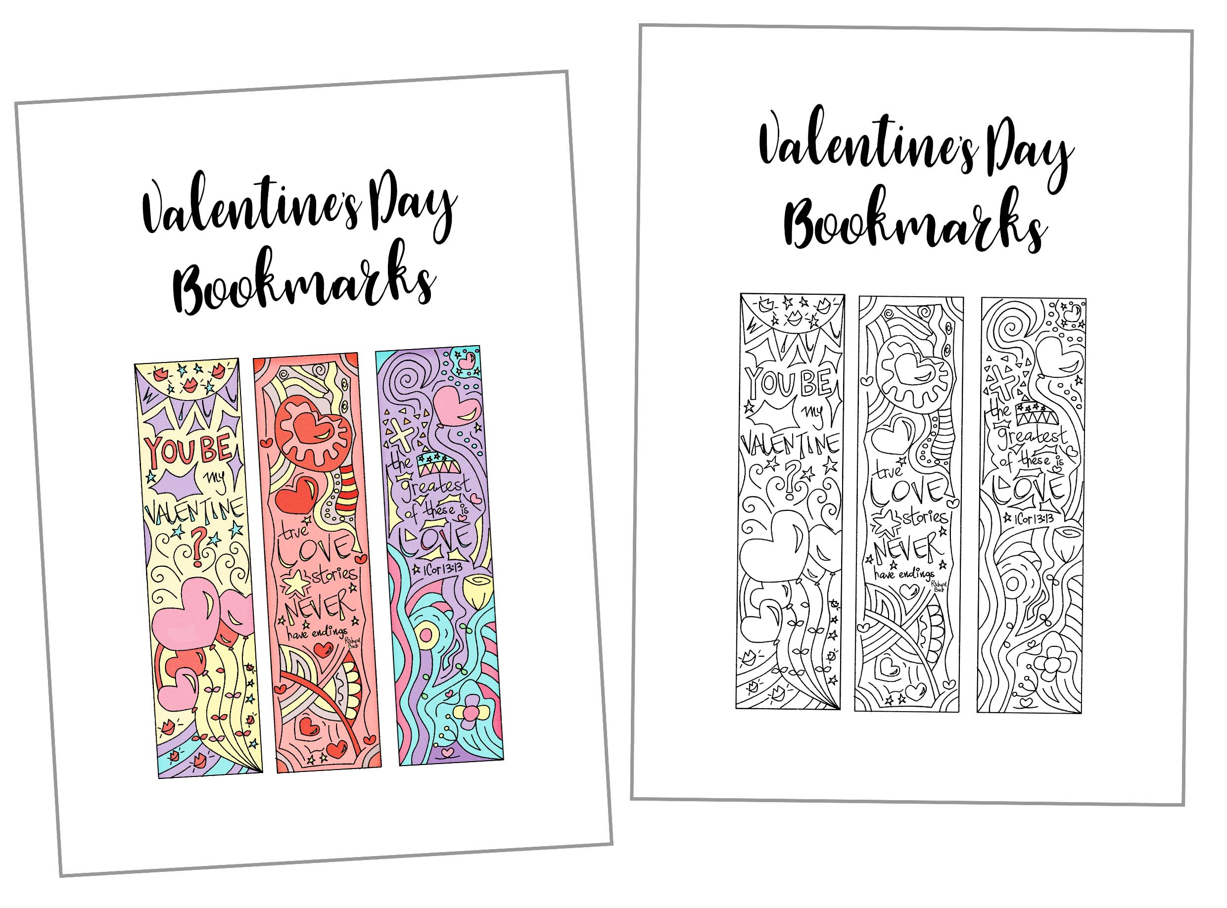 Coloring Valentine S Day Bookmarks Free Printable