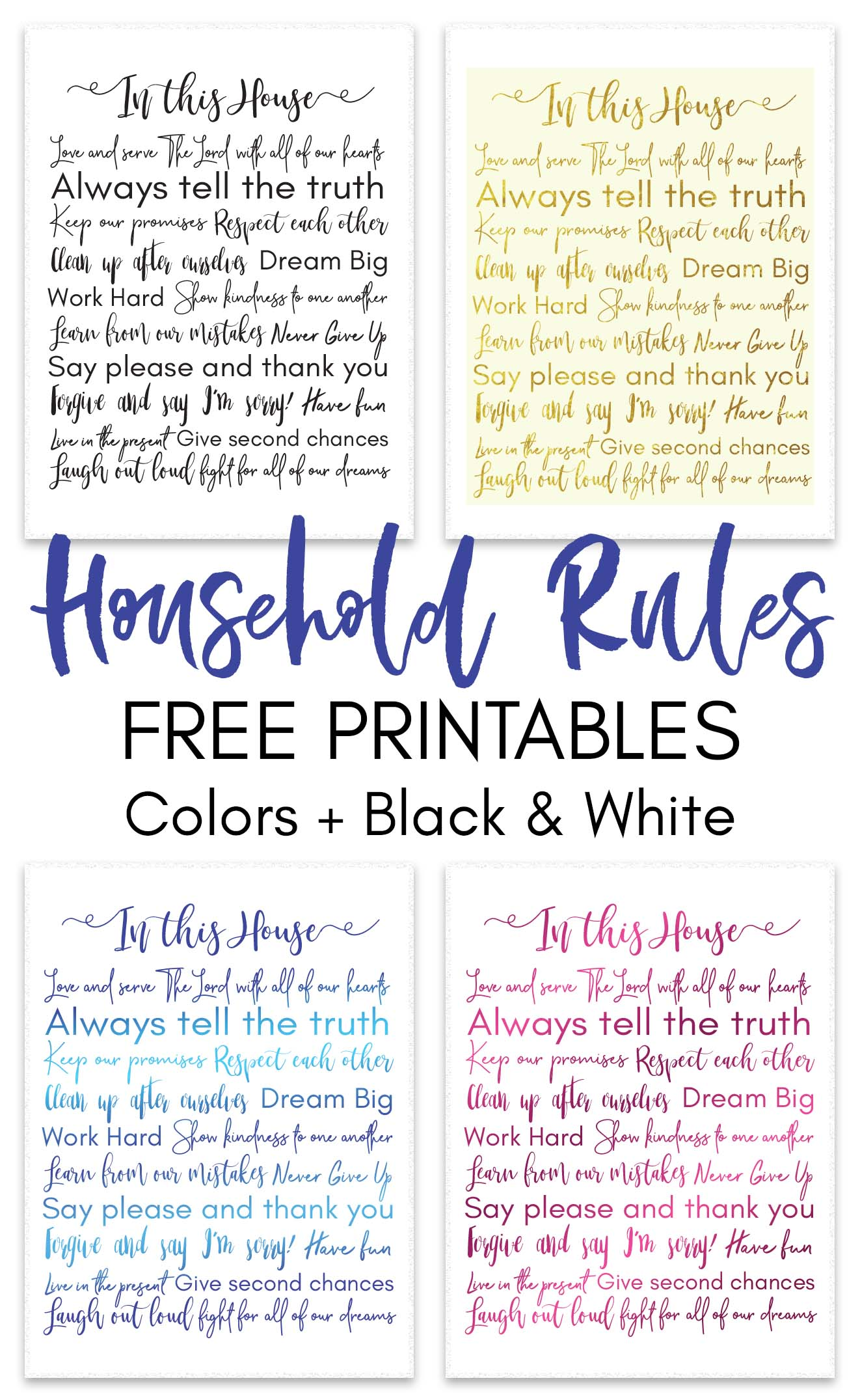 Household Rules Free Printable