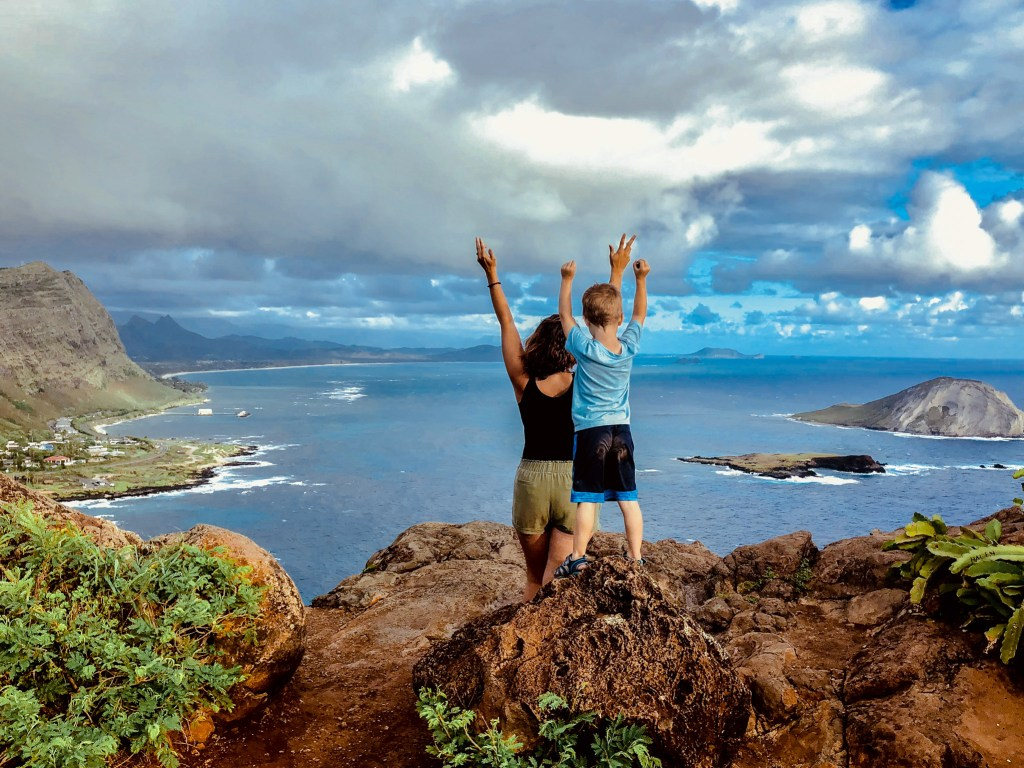 Makapu'u lighthouse hike with kids, family travel, oahu hawaii, childrens activities, adventure