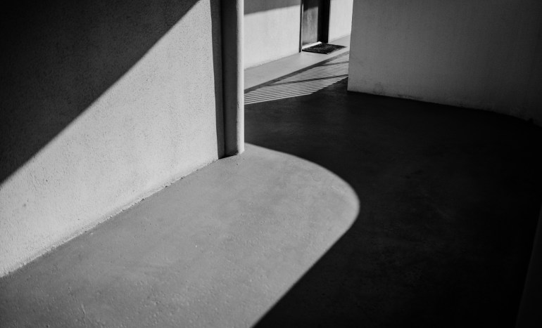 shapes shadows and lines in architecture photography minimal black and white photo