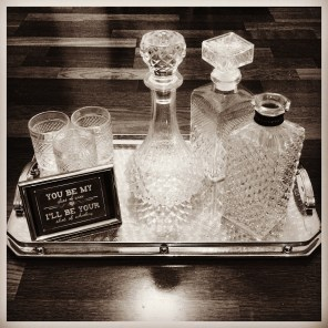 'Whiskey Bar' 5 Decanters Available $7 each. Retro Whisky Glasses $2 each.
