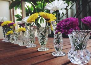 Crystal bud vases $40 set of 10. 2 sets available.