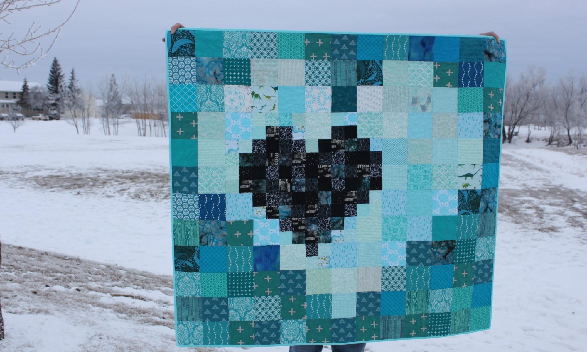 Pixel Heart in a Pixel Heart Quilt