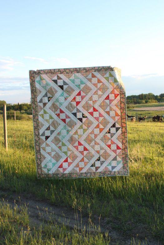 Hidden Zig Zag half square triangle quilt