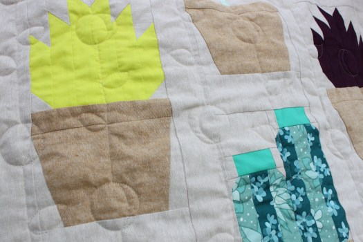 plant themed free motion quilting