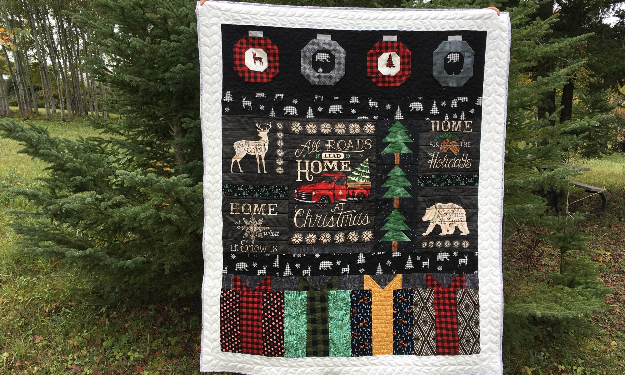 Holiday Lodge Christmas throw quilt by Daydreams of Quilts