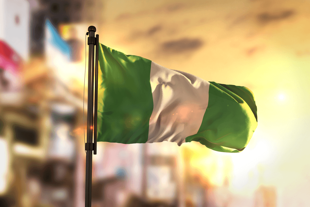 nigeria-flag-against-city-blurred-background