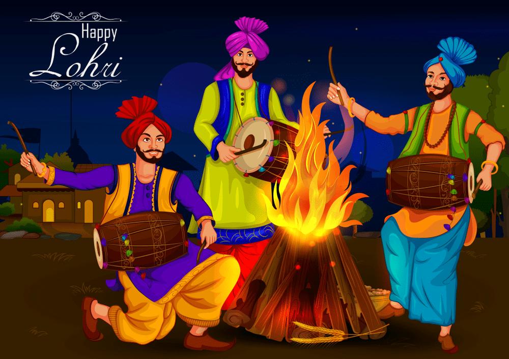 Happy Lohri Punjabi religious holiday Bonfire
