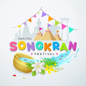 Songkran 2020 festival water splash colorful of Thailand