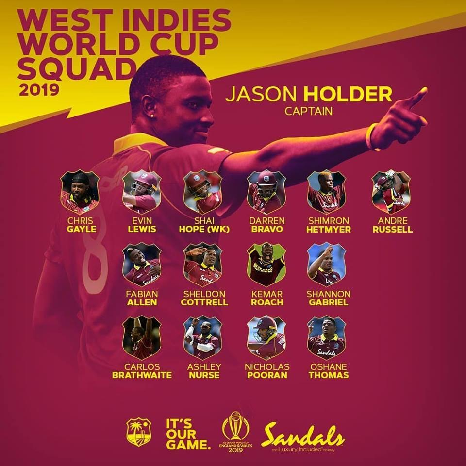 west indies cricket world cup squad 2019