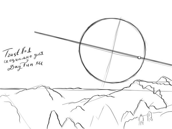 Как нарисовать спутник в космосе