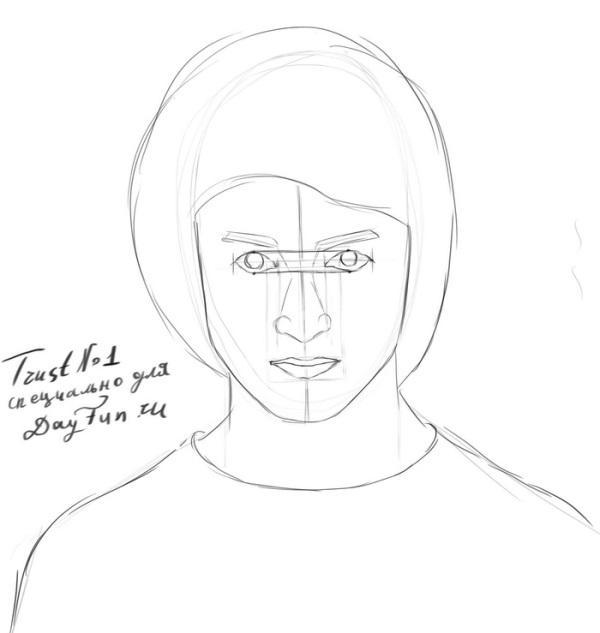 -нарисовать-Гарри-Поттера-карандашом-поэтапно-4 Как нарисовать гарри поттера поэтапно. Учимся рисовать людей