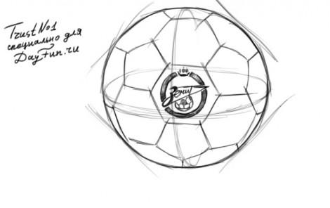 Ball Bleistiftzeichnung Wie Den Fussball Etappenweise Zu