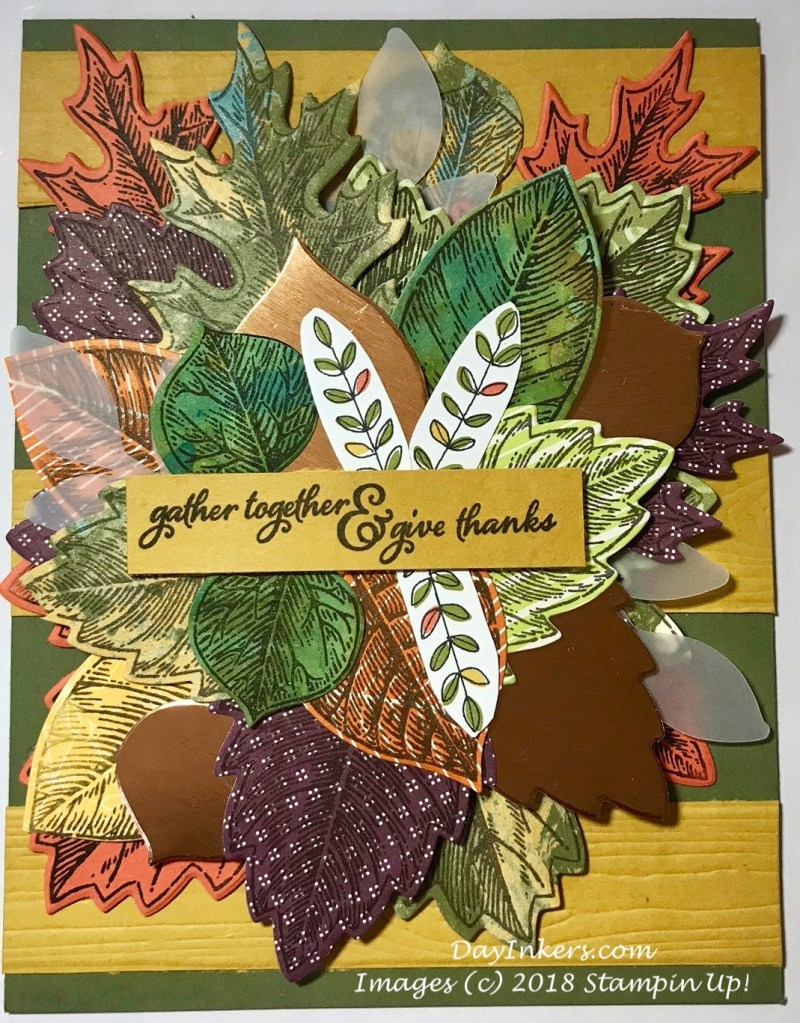 Stampin Up Vintage Leaves on scrap DSP