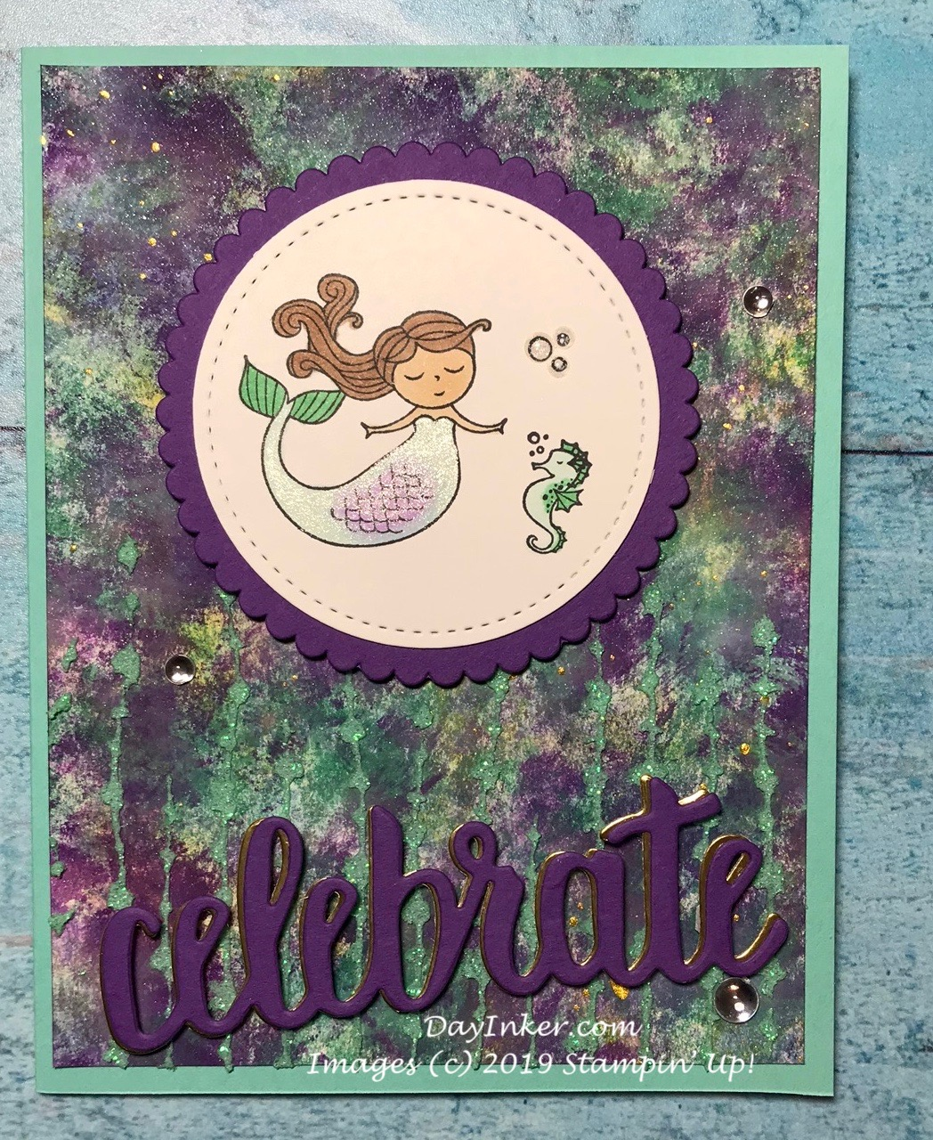 Stampin Up mixed media baby shower invite