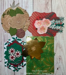 Gift toppers made by DayInkers using Stampin' Up! Memories and More cards as the base.