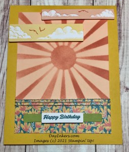 Alternate card using the sunburst stencil from the Here's To You Paper Pumpkin kit.