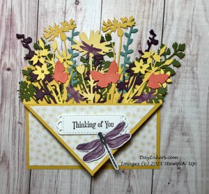 A Pocket front card filled with die cuts from the Quiet Meadow bundle by Stampin' Up! accented with dragonflies.