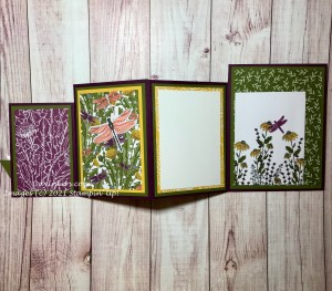 Inside of the four-fold card with Dandy Garden DSP from Stampin' Up@