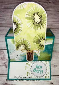 Kiwi popsicle easel card popped up. Paper Pumpkin alternate for You're So Cool.