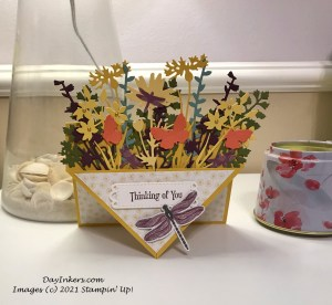 Pocket front card using the Meadows dies from the Quiet Meadow bundle from Stampin' Up! Image shows card standing.