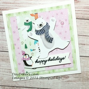 Penguin Players Saleabration patterned papers on a 5x5 card with a Happy Holidays sentiment.