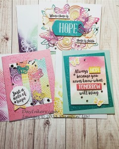 Three greeting cards made from the August Paper Pumpkin kit with hope sentiments.
