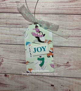 Gift tag made using the Saleabration DSP from Stampin' Up! Penguin Playmates