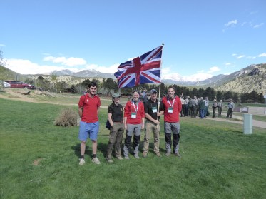 The National Trust contingent flying the Union Jack at the World Ranger Congress. From left to right – Chris Lockyer (Ranger / Peak District), Janine Connor (Ranger / Tyntesfield), Clair Payne (Ranger / South Lakes), Ted Talbot (Countryside Manager / Peak District) & Chris Wood (Ranger / North York Moors)
