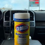 6 p.m. —Clorox wipes can be found in every vehicle at the Schrag household. Gas stations have been taking extra precautions to keep the community safe in Freeman, S.D. on April 14, 2020.