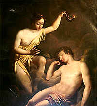 Psyche sees the face of Eros